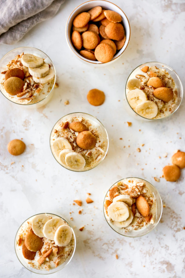 banana pudding cups topped with Nilla Wafers and banana slices
