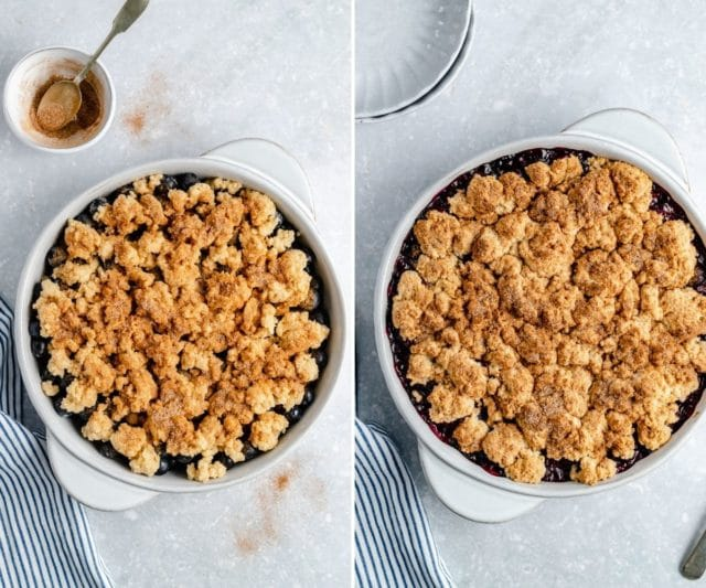 adding the topping to a cobbler and cooking the cobbler