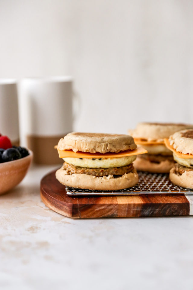 English muffin breakfast sandwiches with egg whites and sausage