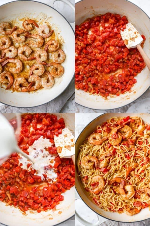 making cajun shrimp pasta in a large skillet