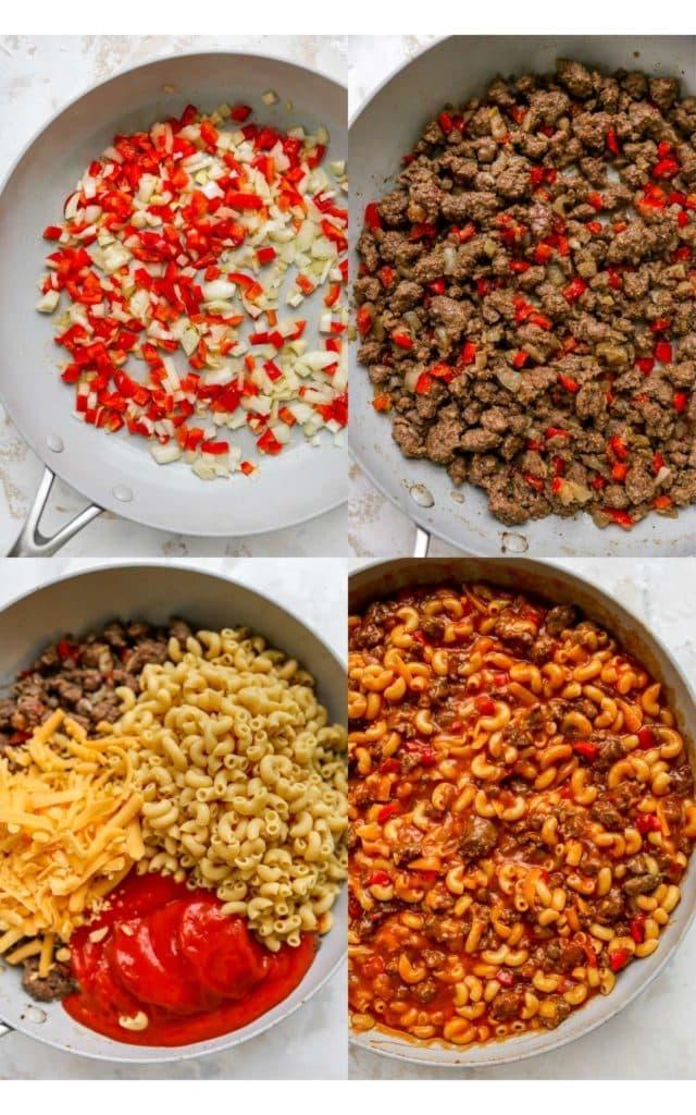 visual process of how to make homemade hamburger helper