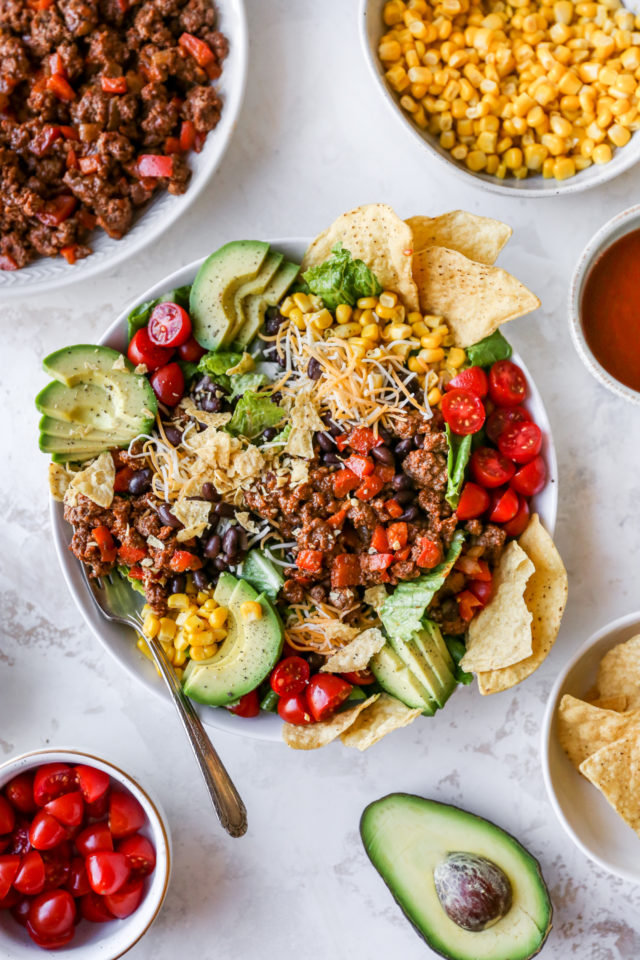 taco salad with tortilla chips and Catalina dressing