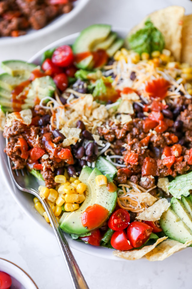 taco salad made with ground beef and Catalina dressing