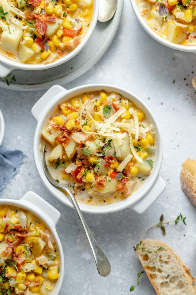 corn chowder topped with bacon, cheese and green onions