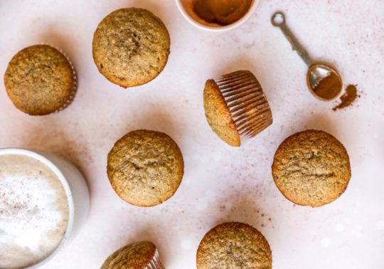 baked banana muffins in liners