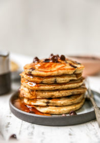 stack of fluffy chocolate chip pancakes