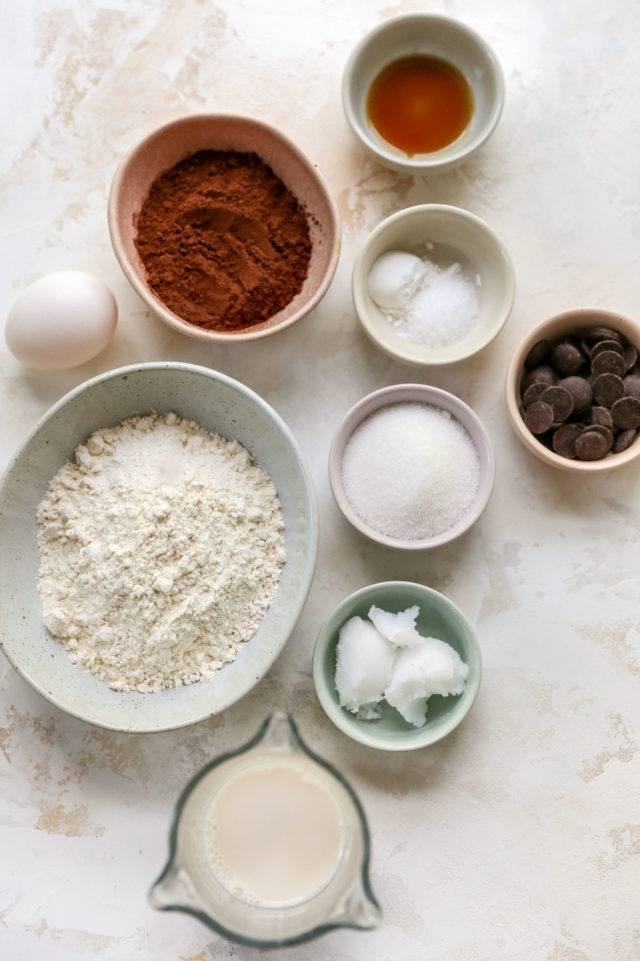 ingredients for chocolate donuts
