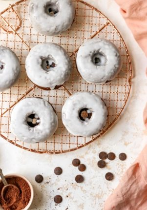 chocolate donuts covered with a white glaze