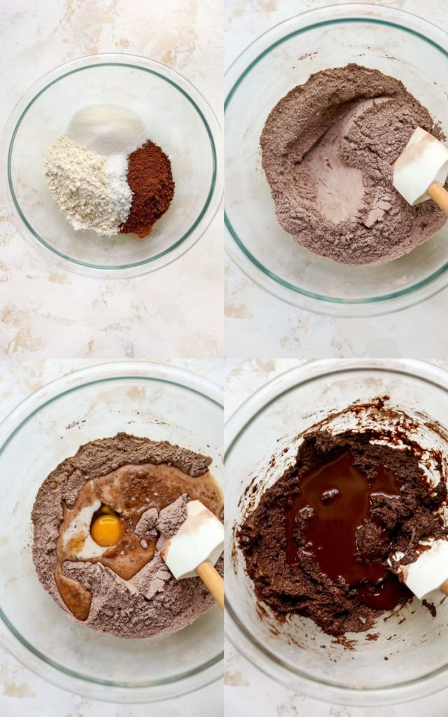 mixing ingredients for homemade chocolate donuts