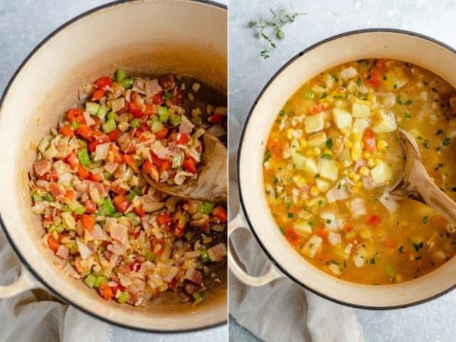 making corn chowder in a large pot
