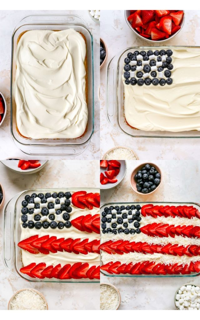 using strawberries and blueberries to make a flag cake