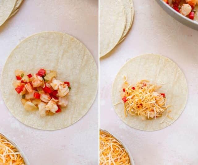 adding shrimp and cheese to tortillas for shrimp enchiladas