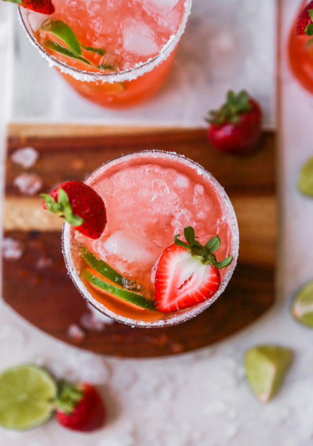 drink made with strawberries and lime