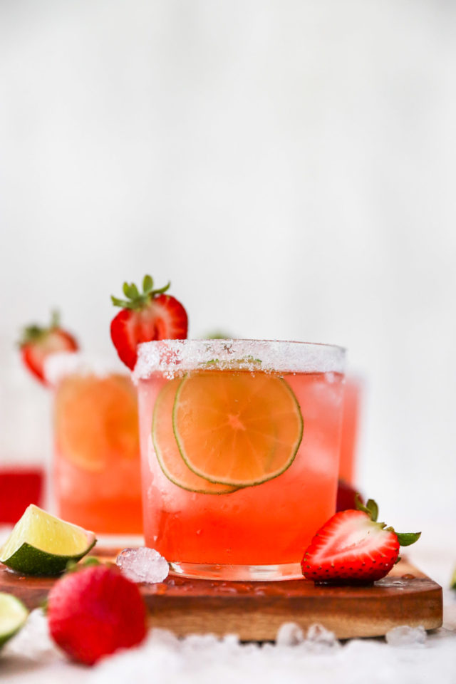 strawberry margarita with a salted rim