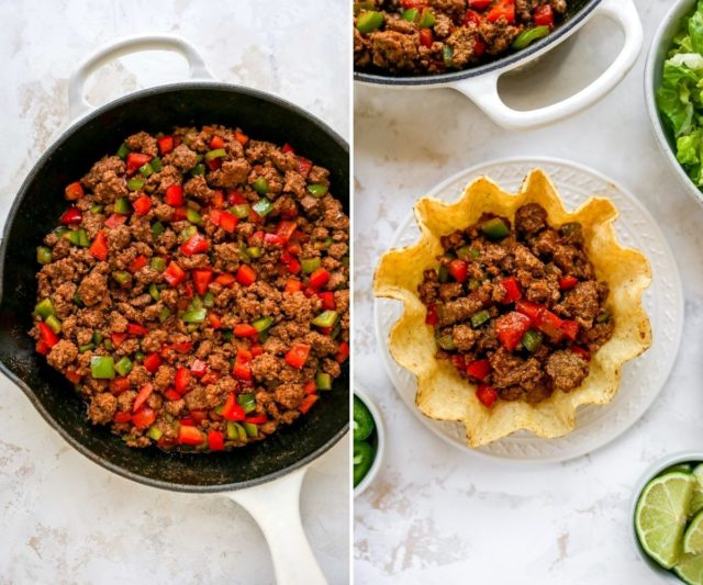 cooking taco meat in a large skillet and filling a tostado shell with beef