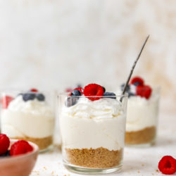 no bake cheesecake cups topped with fresh berries