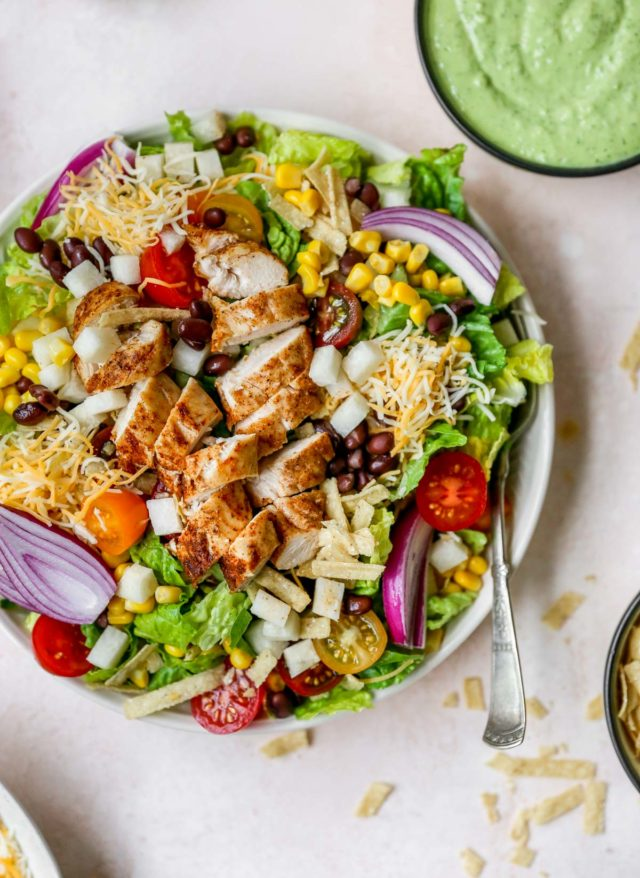 salad with chicken, tomatoes, corn and cheese