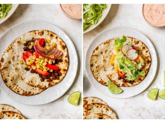 assembling vegetarian tacos