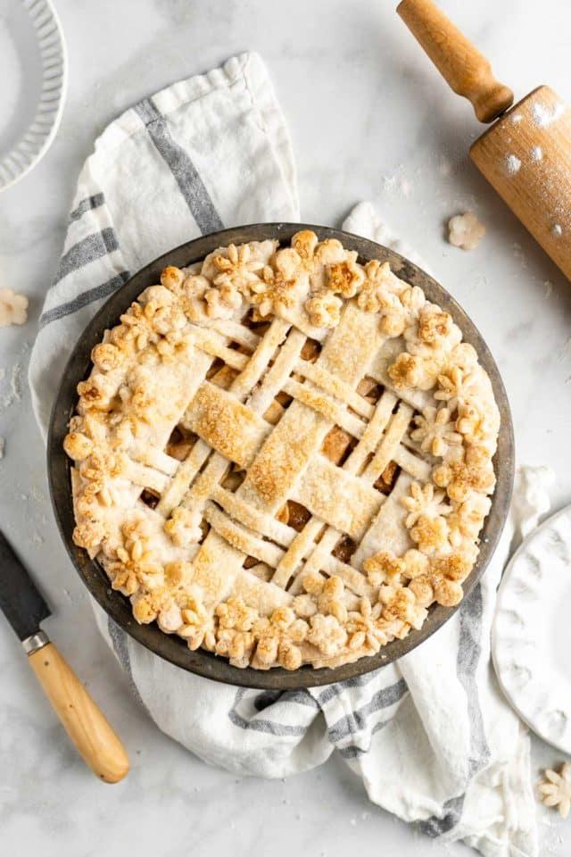 homemade apple pie with lattice pie crust