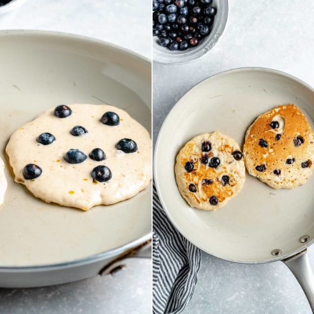 cooking blueberry pancakes on a large skillet