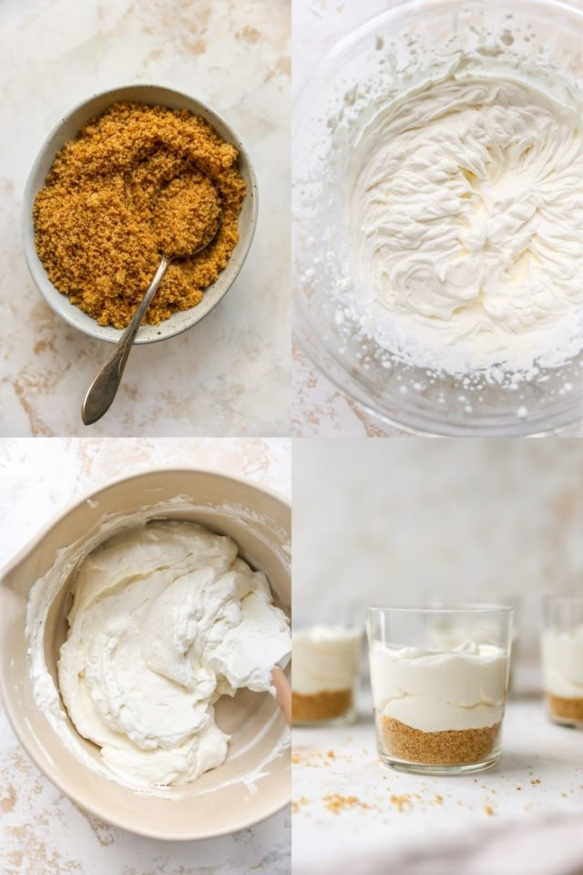 making graham cracker crust and cheesecake filling for cheesecake cups