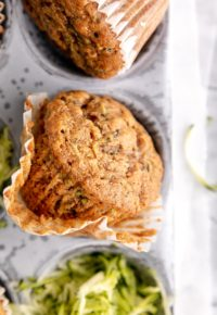 zucchini muffin in a muffin liner