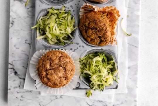 zucchini muffins in a muffin pan