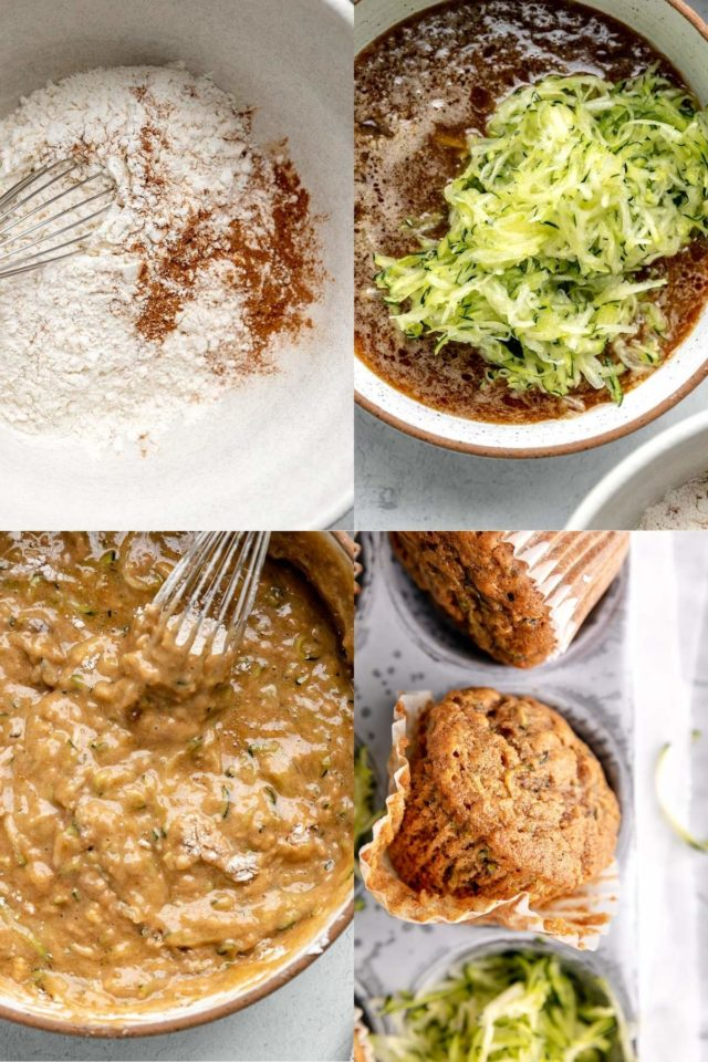 pictures showing how to make zucchini muffins