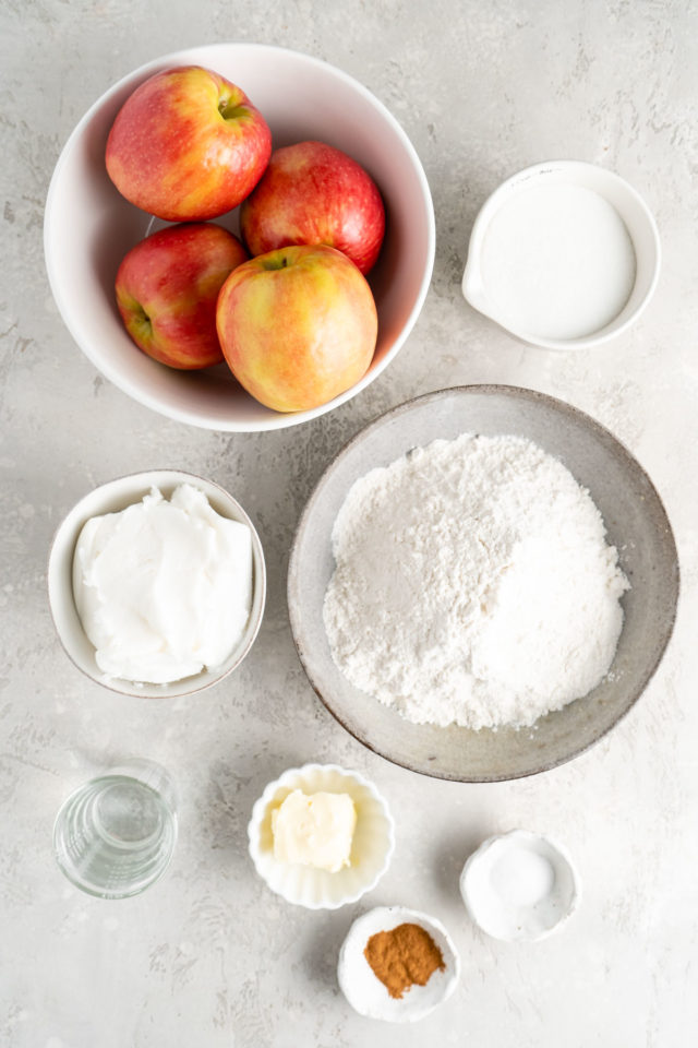 apple pie ingredients in small bowls