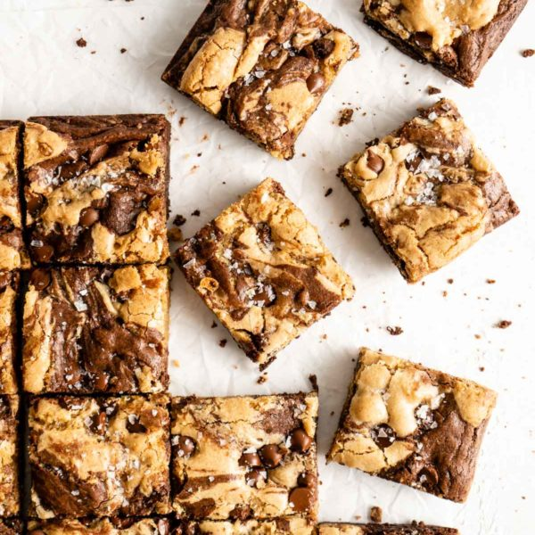 brookies sliced into bars and topped with sea salt