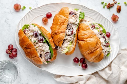 chicken salad sandwiches made with croissants