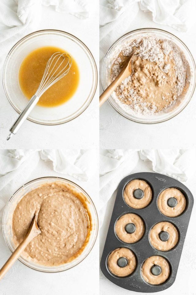 mixing batter and adding it to a donut pan