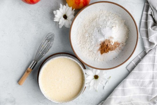 mixing bowl with flour and cinnamon