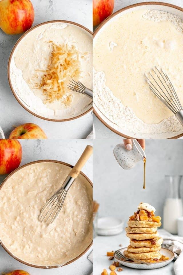 mixing ingredients to make apple pancakes batter