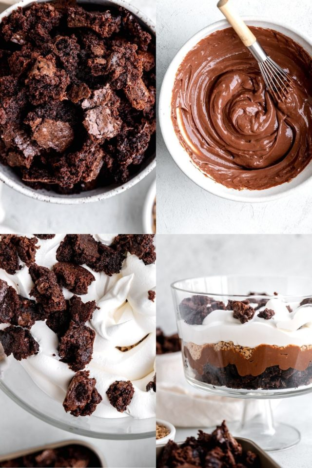 using brownie crumbles, chocolate pudding and cool whip to make death by chocolate