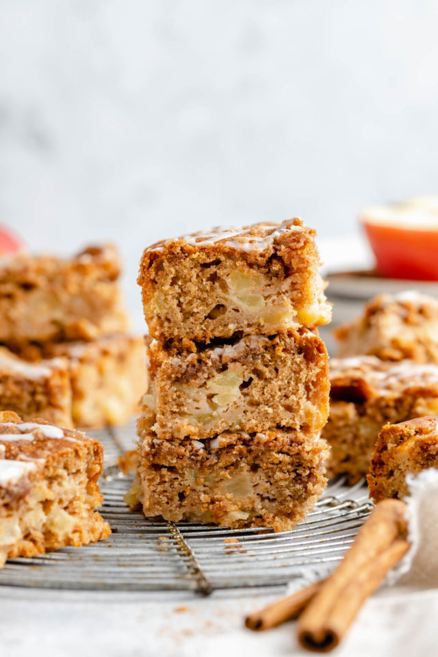 three servings of apple coffee cake stacked