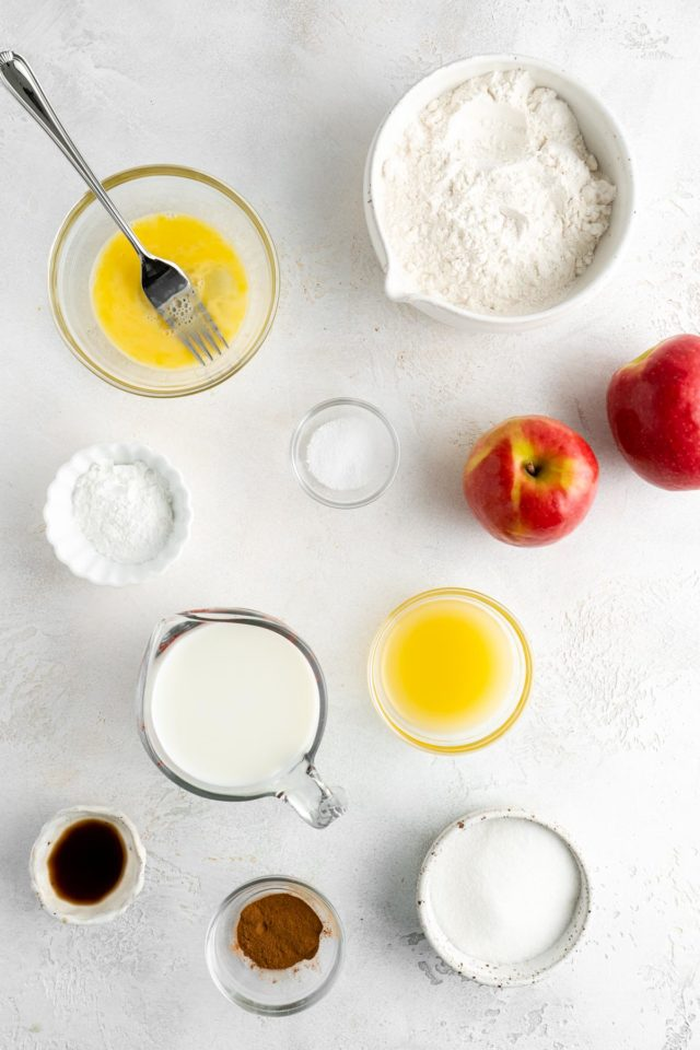 ingredients to make apple fritters divided into small bowls