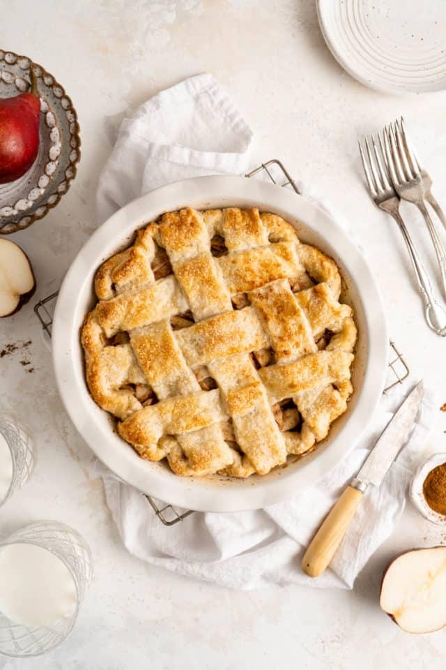homemade pear pie with a lattice crust