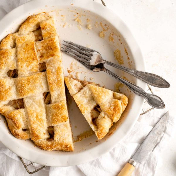 slices of pear pie in a pie dish