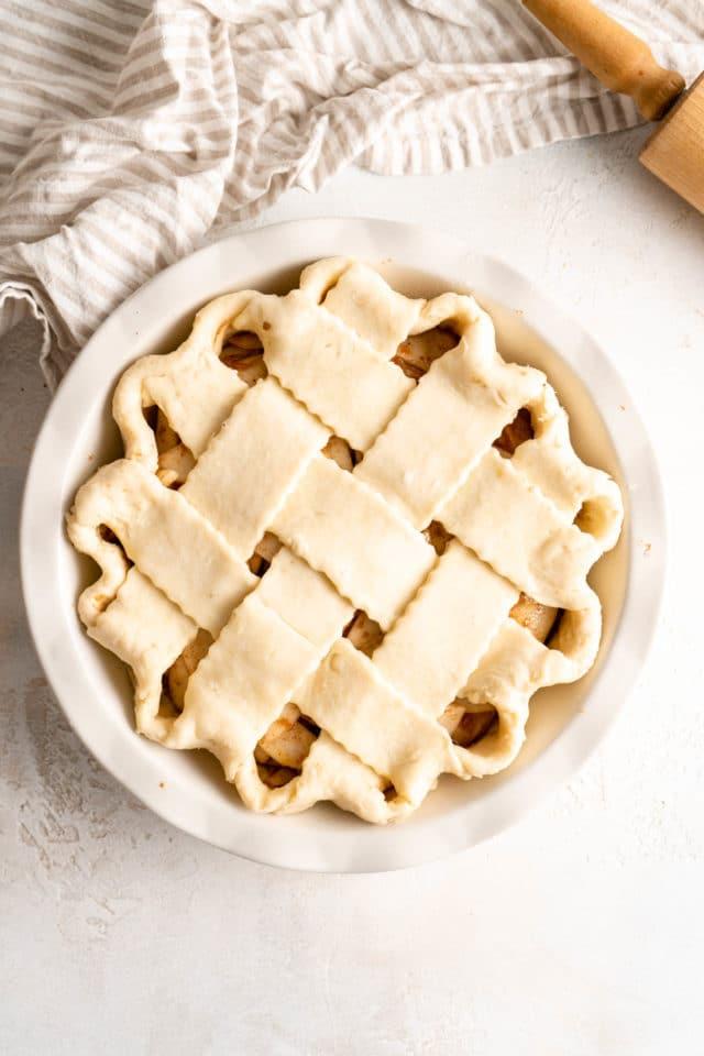 lattice pie crust over pear pie