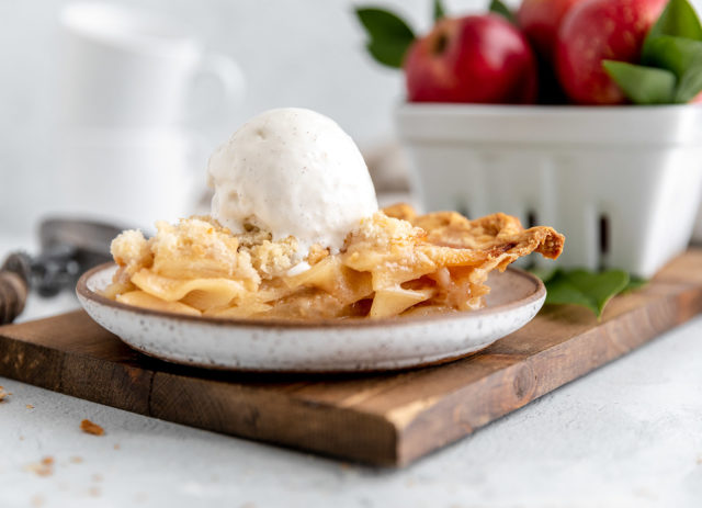 Dutch Apple Pie served on a small plate with ice cream