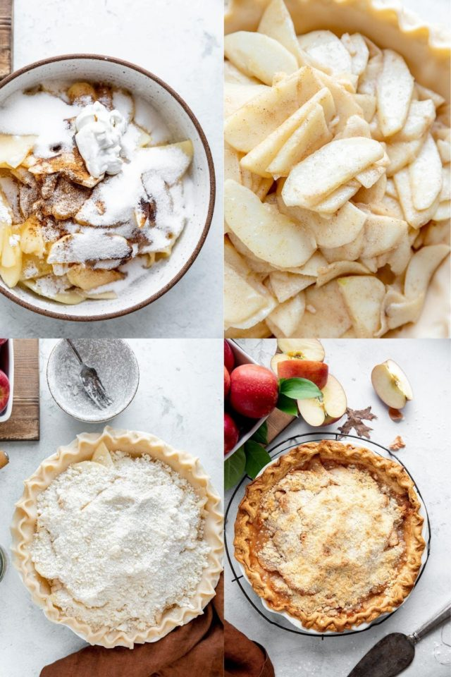 pictures showing how to make an apple crumb pie