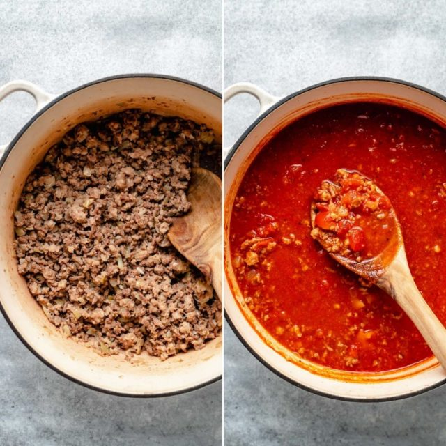cooking ingredients for lasagna soup