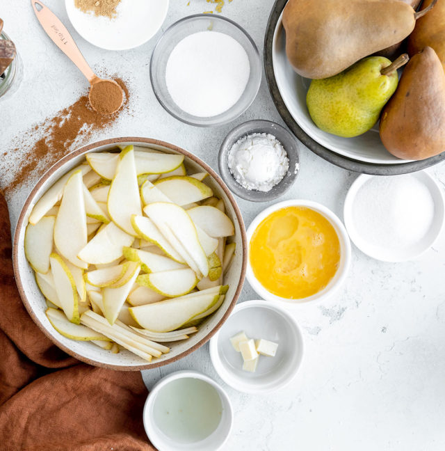 ingredients for pear galette recipe in small bowls