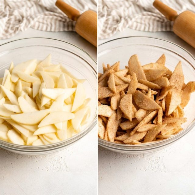 adding spices to sliced pears in a mixing bowl