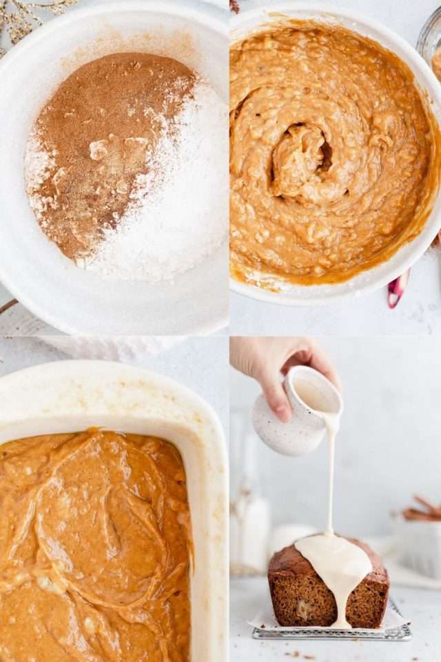 pictures showing how to make pumpkin banana bread