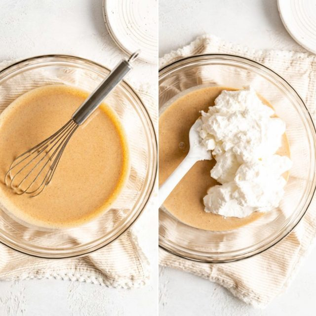mixing whipped cream with pumpkin mixture