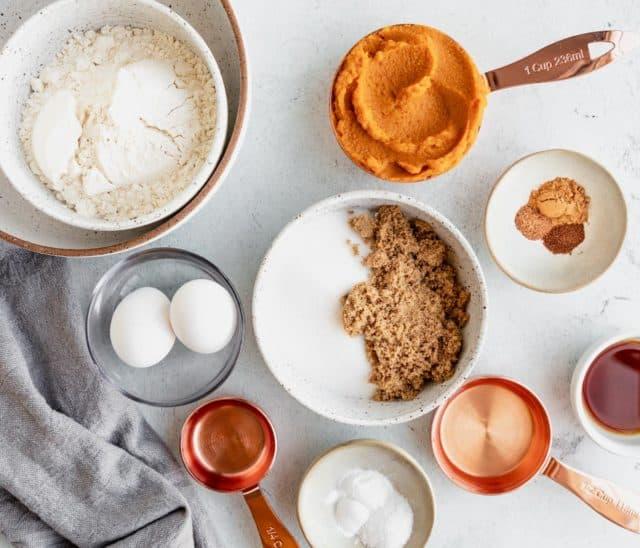 ingredients for making pumpkin muffins