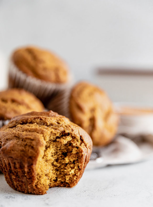pumpkin muffin with a bite taken out