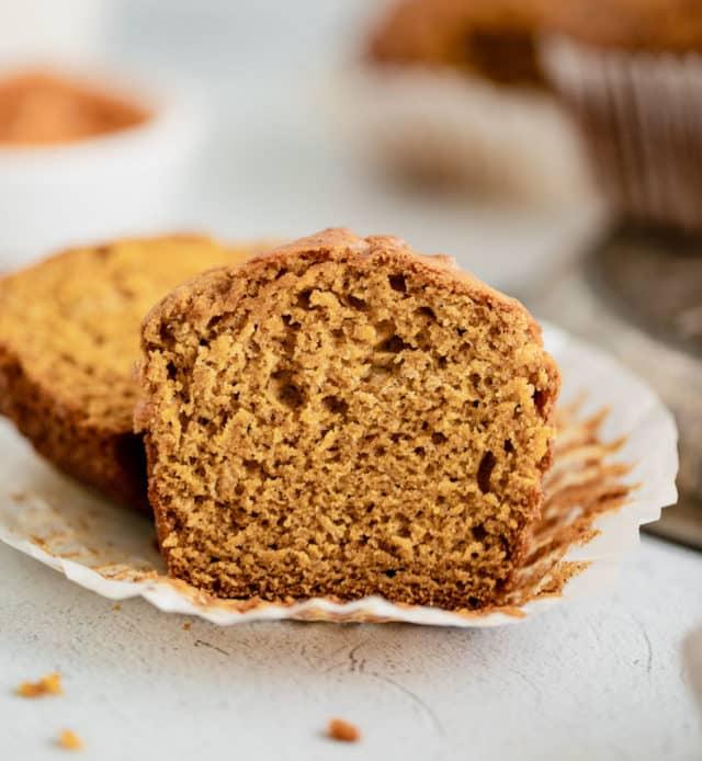 pumpkin muffin cut in half